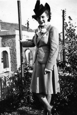 vintage photograph lady in garden in hat